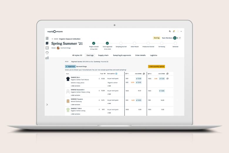 The SupplyCompass Production Platform for Fashion: Manage RfQ and Costings in fashion